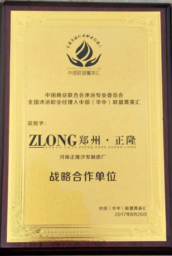 正隆荣誉证书